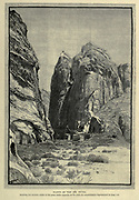CLIFFS OF THE SlK [Al-Siq], PETRA, Jordan. Showing the western outlet of the great defile opposite to the rock -cut amphitheatre. Wood engraving of from 'Picturesque Palestine, Sinai and Egypt' by Wilson, Charles William, Sir, 1836-1905; Lane-Poole, Stanley, 1854-1931 Volume 3. Published in by J. S. Virtue and Co 1883