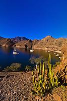 Sailboats anchored in Agua Verde bay, Sea of Cortes, Baja California Sur, Mexico