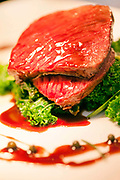 A dish of Muntjac deer at the Potkiln, an award winning pub and restaurant owned by chef and restauranteur, Mike Robinson in Berkshire, UK