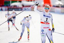 March 16, 2018 - Falun, SVERIGE - 180316 Hanna Falk, Sverige, (etta) jublar efter finalen i sprint under Svenska Skidspelen den 16 mars 2018 i Falun  (Credit Image: © Simon HastegRd/Bildbyran via ZUMA Press)