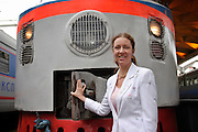Moscow, Russia, 21/07/2004.&#xA;General Anna Belova, Vice President of Russian Railways, at Leningradskii Station with the Moscow to St Petersburg express train.<br />