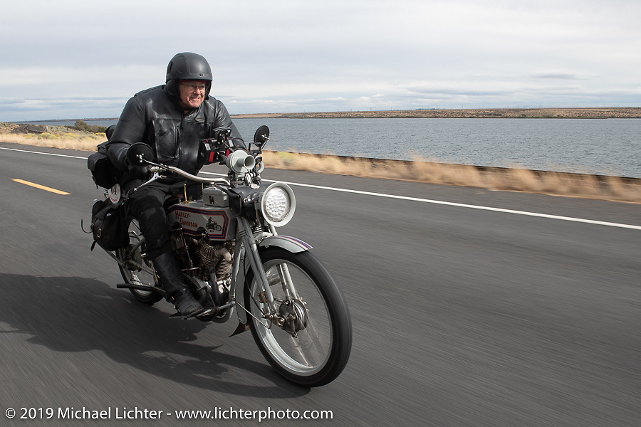 Dave Currier rode his 1915 Harley-Davidson model F with Milwaukee Tools behind him as a sponsor, in the Motorcycle Cannonball coast to coast vintage run. Stage 14 (303 miles) from Spokane, WA to The Dalles, OR. Saturday September 22, 2018. Photography ©2018 Michael Lichter.