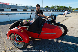Matt Walksler with his daughter in his side-car rig on the New Smyrna Speedway after the Sons of Speed Race during Daytona Bike Week. New Smyrna Beach, FL. USA. Saturday March 17, 2018. Photography ©2018 Michael Lichter.