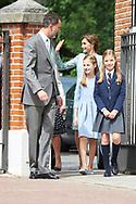 King Felipe VI of Spain, Princess Sofia, Queen Letizia of Spain, Crown Princess Leonor arrived Asuncion de Nuestra Senora Church for the First Communion of Princess Sofia on May 17, 2017 in Aravaca near of Madrid.