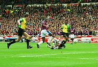 Dalian Atkinson  (Villa) scores his goal past Les Sealey, Steve Bruce and Paul Parker. Aston Vila v Manchester United Coca Cola League Cup Final 1994 @ Wembley. 27/03/94 Credit : Colorsport / Andrew Cowie