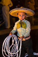 A charreria (Mexican rodeo) performance at the Mundo Cuervo (a visitor and events center at the Jose Cuervo tequila distillery) in the town of Tequila, Jalisco, Mexico