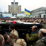 KIEV, UKRAINE - February 22, 2014: Funeral procession of anti-government protestors killed two days ago during clashes with riot police in central Kiev. CREDIT: Paulo Nunes dos Santos