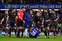 Football - 2018 / 2019 Emirates FA Cup - Fourth Round: Chelsea vs. Sheffield Wednesday<br /> <br /> Sheffield Wednesday's Barry Bannan points the finger at Chelsea's Cesar Azpilicueta as he is fouled by Sam Hutchinson leading to the penally, at Stamford Bridge.<br /> <br /> COLORSPORT/ASHLEY WESTERN
