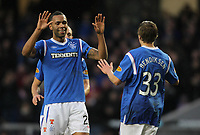 Football - Scottish Premier League - Rangers vs. Dunfermline<br /> <br /> Kyle Bartley and Thomas Bendikson of Rangers celebrate Rangers first goal during the Rangers vs. Dunfermline Scottish Premier League match at Ibrox Stadium Glasgow on December 3rd 2011<br /> <br /> <br /> Ian MacNicol/Colorsport