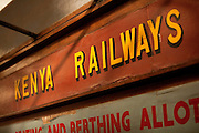 Information signs on the trains departing at Nairobi Railway Station, Kenya
