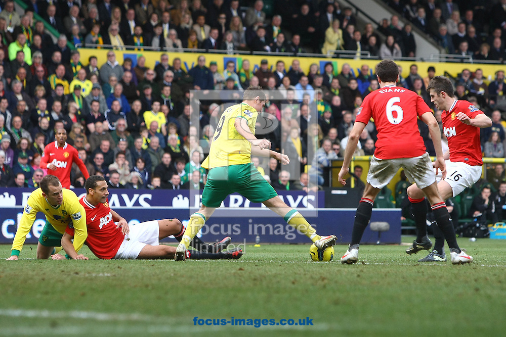Picture by Paul Chesterton/Focus Images Ltd.  07904 640267.26/02/12.Grant Holt of Norwich in action during the Barclays Premier League match at Carrow Road Stadium, Norwich.