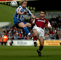 Photo: Ian Hebden.<br />Northampton Town v Chester City. Coca Cola League 2. 29/04/2006.<br />Chesters Ben Davies (L) and Northamptons Scott McGleish (R) compete for the ball.