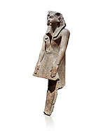 Ancient Egyptian statue of Ramesses II , granite, New Kingdom, 18th Dynasty, (1500-1400 BC, Karnak, Temple of Mut. Egyptian Museum, Turin. white background.<br /> <br /> The statue depicting Ramesses II  was reworked over a statue of an earlier pharaoh. This can be seen around the corners of the mouth which show reworking. The roundness of the face and short apron also point to an earlier style.  Ramesses II is depicted praying with his arms out straight and his hands resting flat on the apron of his kilt. .<br /> <br /> If you prefer to buy from our ALAMY PHOTO LIBRARY  Collection visit : https://www.alamy.com/portfolio/paul-williams-funkystock/ancient-egyptian-art-artefacts.html  . Type -   Turin   - into the LOWER SEARCH WITHIN GALLERY box. Refine search by adding background colour, subject etc<br /> <br /> Visit our ANCIENT WORLD PHOTO COLLECTIONS for more photos to download or buy as wall art prints https://funkystock.photoshelter.com/gallery-collection/Ancient-World-Art-Antiquities-Historic-Sites-Pictures-Images-of/C00006u26yqSkDOM