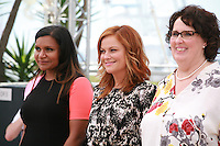 Actress Mindy Kaling, Amy Poehler and Phyllis Smith at the Inside Out film photo call at the 68th Cannes Film Festival Monday May 18th 2015, Cannes, France.