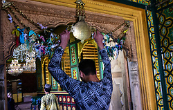 May 27, 2019 - Srinagar, India - Kashmiri Muslims offer prayers at a shrine on the anniversary of Martyrdom of Imam Ali in Srinagar, Indian Administered Kashmir on 27 May 2019. (Credit Image: © Muzamil Mattoo/NurPhoto via ZUMA Press)