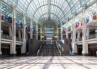 Atrium in Ronald Reagan Building, Washington DC still almost deserted with the ongoing covid pandemic photo by Catherine Brown