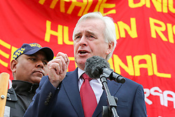 © Licensed to London News Pictures. 01/05/2019. London, UK. John McDonnell, Shadow Chancellor of the Exchequer speaking at the annual May Day Rally on International Workers' Day in Trafalgar Square, attended by hundreds of demonstrators. Labour Day in some countries and often referred to as May Day, is a celebration of labourers and the working classes that is promoted by the international labour movement which occurs every year on May Day (1 May), an ancient European spring festival. Photo credit: Dinendra Haria/LNP