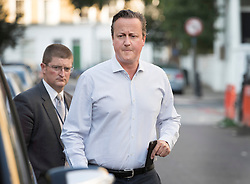 © Licensed to London News Pictures. 14/09/2016. London, UK. Former Prime Minister David Cameron leaves home.  Mr Cameron has been criticised in a new Parliamentary report into Britain's involvement in Libya and the overthrow of Libyan leader Muammar Gaddafi in 2011. The foreign affairs committee accused Mr Cameron of lacking a coherent strategy for the air campaign. Photo credit: Peter Macdiarmid/LNP