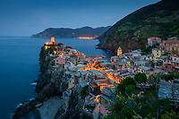 Aerial view of Vernazza cityscape during the night, Italy