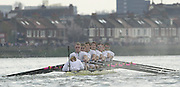 Putney, London   <br /> 2002 Varsity Boat Race. <br /> Photo Peter Spurrier<br /> 2002 Boat Race<br /> 30/03/02<br /> Cambridge, rowing through, with the advantage of the bend at Dukes meadows.[Mandatory Credit:Peter SPURRIER/Intersport Images]