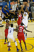 Golden State Warriors forward Kevin Durant (35) takes the ball to the basket during a NBA preseason game against the Los Angeles Clippers at Oracle Arena in Oakland, Calif., on October 4, 2016. (Stan Olszewski/Special to S.F. Examiner)