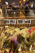 """Posters read I am Charlie, I am Jewish, I am grieving, I am a policeman <br /><br />French and Jews come together to make a vigil outside a Kosher supermarket in Porte Vincennes, Paris, France. Yesterday this Kosher supermarket was the scene of a hostage taking and followed by an armed shoot out between Jihadist gunmen and French police. It ended in a shoot out and with the death of the terrorists. Some hostages were killed and police injured.<br /><br />This event was directly linked to the attack on the offices of Charlie Hebdo, killing twelve people, including the editor and celebrated cartoonists two days before. This week was the deadliest week of terror attacks in France for over fifty years. Charlie Hebdo is a satirical publication well known for its political cartoons. <br /><br />As a solidarity actions with the deaths at Charlie Hebdo many placards read """"Je suis Charlie"""" translating as """"I am Charlie (Hebdo)"""". Demonstrators held aloft pens, brushes and crayons, symbolizing the profession of journalists and cartoonists who were killed."""