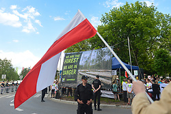 July 4, 2017 - Krakow, Poland - A huge security operation in place during the 2017 UNESCO World Heritage Committee sessions in ICE Congress Center, as hundreds of activists and protesters from 'Love Primeval Forest of Bialowieza' organised a prontest..On Tuesday, July 4, 2017, in Krakow, Poland. (Credit Image: © Artur Widak/NurPhoto via ZUMA Press)