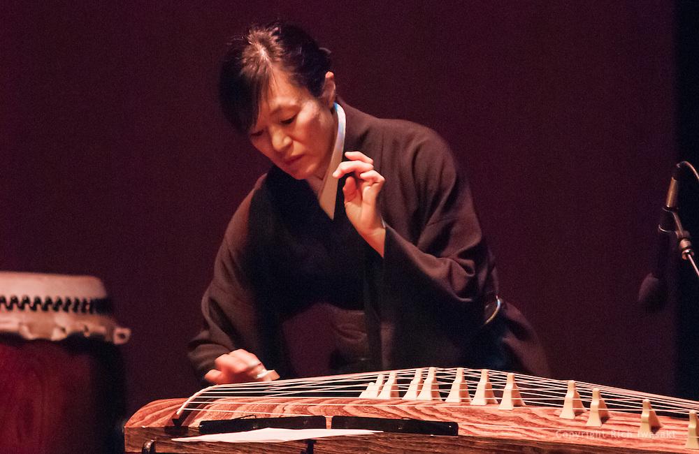 "Koto musician Mitsuki Dazai performs at the Portland Taiko concert ""Three: 3 conversations with Taiko"", Winningstad Theatre, Portland Center for the Performing Arts, Portland, Oregon."