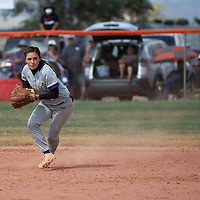 Miyamura Patriot shortstop Shelby Cordova fields a grounder for the Patriots during their NMAA Baseball State Championship semifinal game against the Gallup Bengals Thursday in Gallup.