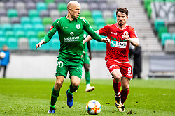 Tomic Tomislav of NK Olimpija Ljubljana vs Matjasic Jure of NK  Aluminij during football match between NK Olimpija Ljubljana and NK Aluminij in Round #27 of Prva liga Telekom Slovenije 2018/19, on April 14th, 2019 in Stadium Stozice, Slovenia Photo by Matic Ritonja / Sportida
