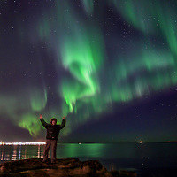 """Me """"creating"""" the northern lights in Iceland."""
