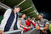 Richie Mo'unga of the BNZ Crusaders celebrates with teh fans during the Canterbury Crusaders v the Western Force Super Rugby Match. Nib Stadium, Perth, Western Australia, 8th April 2016. Copyright Image: Daniel Carson / www.photosport.nz