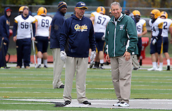 18 October 2014:  Rob Cushman & Norm Eash during an NCAA division 3 football game between the Augustana Vikings and the Illinois Wesleyan Titans in Tucci Stadium on Wilder Field, Bloomington IL