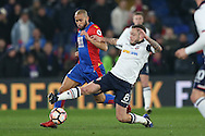 Jay Spearing of Bolton Wanderers challenges Andros Townsend of Crystal Palace. Emirates FA Cup 3rd round replay match, Crystal Palace v Bolton Wanderers at Selhurst Park in London on Tuesday 17th January 2017.<br /> pic by John Patrick Fletcher, Andrew Orchard sports photography.