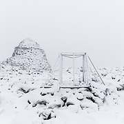 2.33pm  Instrument frame with summit refuge, Ben Nevis, Highland, Scotland.