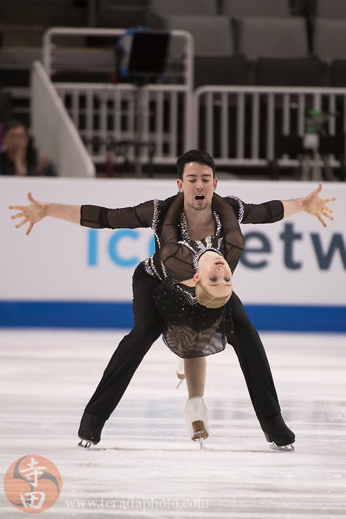 January 4, 2018; San Jose, CA, USA; Caitlin Fields and Ernie Utah Stevens performs in the pairs short program during the 2018 U.S. Figure Skating Championships at SAP Center.