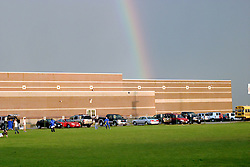 22 September 2006  Safety concerns due to lightning and thunderstorms prompted the delay of several local high school football games.  Just before the scheduled game time,  a rainbow appeared giving hope that the evenings activities could continue...Normal Community West High School, Normal, IL