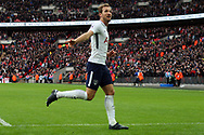 Harry Kane of Tottenham Hotspur celebrates completing his hat-trick and scoring his team's fifth goal (his 3rd). Premier league match, Tottenham Hotspur v Southampton at Wembley Stadium in London on Boxing Day Tuesday 26th December 2017.<br /> pic by Steffan Bowen, Andrew Orchard sports photography.