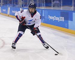 February 18, 2018 - Pyeongchang, KOREA - Korea defenseman Chaelin Park (15) in a hockey game between Switzerland and Korea during the Pyeongchang 2018 Olympic Winter Games at Kwandong Hockey Centre. Switzerland beat Korea 2-0. (Credit Image: © David McIntyre via ZUMA Wire)
