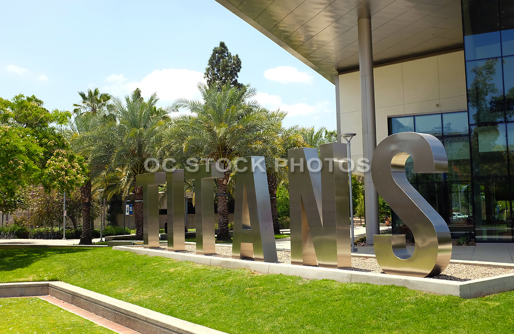 Titans Metal Letters in Front of the Student Union on Campus at California State University Fullerton