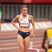 TOKYO, JAPAN August 3:   Keely Hodgkinson of Great Britain before the start of the Women's 800m Final at the Olympic Stadium during the Tokyo 2020 Summer Olympic Games on August 3rd, 2021 in Tokyo, Japan. (Photo by Tim Clayton/Corbis via Getty Images)