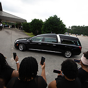 RAEFORD, NC - June 6: The body of George Floyd arrives at Impact Church, where a memorial service will be held in his honor in Raeford, NC on June 6, 2020. The 3 day tour will culminate with Floyd's funeral in Houston, Texas. (Photo by Logan Cyrus for AFP)