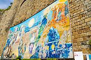 Mural at the Riomaggiore train station, Cinque Terre, Liguria, Italy