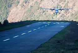 """THEMENBILD - Tenzing-Hillary Airport in Lukla. Wanderung im Sagarmatha National Park in Nepal, in dem sich auch sein Namensgeber, der Mount Everest, befinden. In Nepali heißt der Everest Sagarmatha, was übersetzt """"Stirn des Himmels"""" bedeutet. Die Wanderung führte von Lukla über Namche Bazar und Gokyo bis ins Everest Base Camp und zum Gipfel des 6189m hohen Island Peak. Aufgenommen am 08.05.2018 in Nepal // Trekkingtour in the Sagarmatha National Park. Nepal on 2018/05/08. EXPA Pictures © 2018, PhotoCredit: EXPA/ Michael Gruber"""