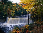 Autumn colors surrounding Upper Tahquamenon Falls, Tahquamenon River, Tahquamenon Falls State Park, Upper Peninsula of Michigan.