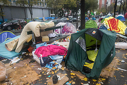 November 4, 2016 - Paris, France - Empty tents after an evacuation of a makeshift camp near Stalingrad metro station in Paris on November 4, 2016, one of several camps sprouting up around the French capital. Over 2000 migrants were moved by police from the Paris town center to a legal migrant camp. (Credit Image: © Julien Mattia/NurPhoto via ZUMA Press)