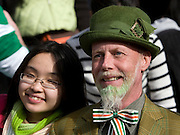 Asian girl and Leprechaun, Dublin, St. Patrick's Day, 2009