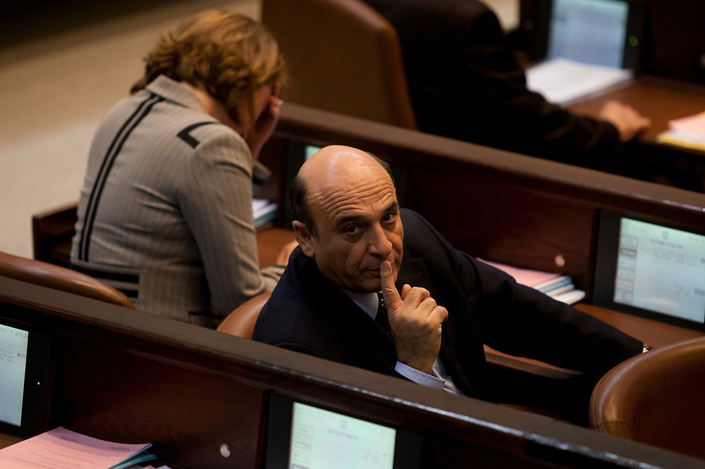 Israeli parliament member and former Israeli Defense Minister Shaul Mofaz of Kadima party attends a session of the Knesset, Israel's parliament in Jerusalem, on November 21, 2011.