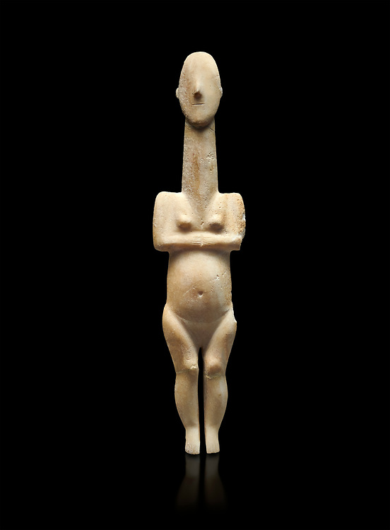 Cycladic statue figurine of the naturalistic 'Plastira' type of Paros from Glypha cemetery, grave 23, Cat no 4762. Early Cycladic Period I (Grotta-Pelos Phase 3200-2800 BC). National Archaeological Museum, Athens. Black background.<br /> <br /> This type of Cycladic figurine stand with feet lat to the ground with detailed facial features and ears to make a more realistic statue. .<br /> <br /> If you prefer to buy from our ALAMY PHOTO LIBRARY  Collection visit : https://www.alamy.com/portfolio/paul-williams-funkystock/cycladic-art-artefacts.html Type into the LOWER SEARCH WITHIN GALLERY box to refine search by adding background colour, place, museum etc<br /> <br /> Visit our CYCLADIC CIVILISATIONS PHOTO COLLECTIONS for more photos to download or buy as wall art prints https://funkystock.photoshelter.com/gallery-collection/Cycladic-civilisation-Ancient-Greek-Artefacts-art-Photos-Pictures-Images/C0000CmevVvnC.XU