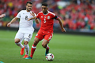Neil Taylor of Wales ® gets away from Valeri Kazaishvili of Georgia.  Wales v Georgia , FIFA World Cup qualifier, European group D match at the Cardiff city Stadium in Cardiff on Sunday 9th October 2016. pic by Andrew Orchard, Andrew Orchard sports photography